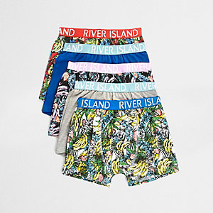Boys blue Banana Rama print trunks multipack