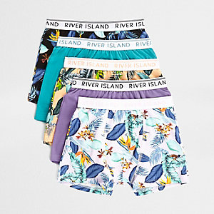 Boys purple tropical boxers multipack