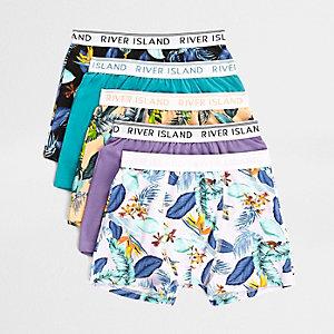 Lot de boxers motif tropical violets pour garçon