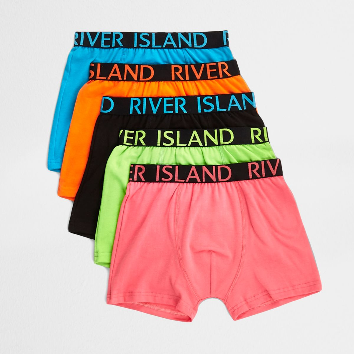Boys green funky brights boxers multipack