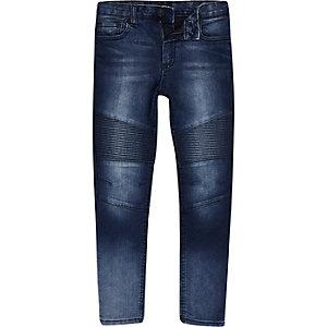 Sid - Blauwe skinny jeans met bikerpaneel voor jongens