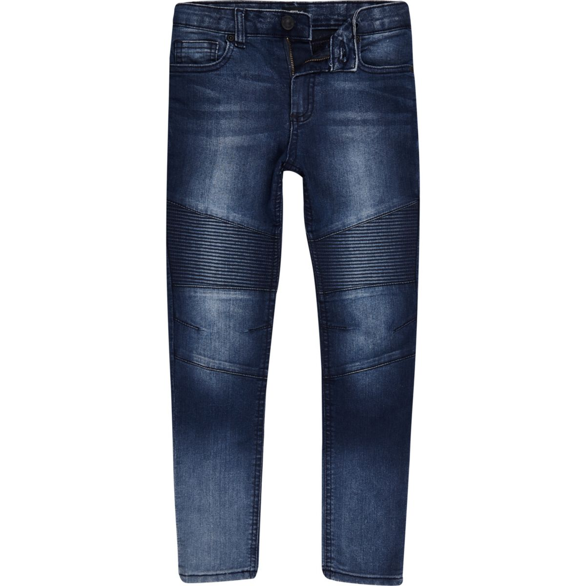 Boys blue skinny Sid biker panel jeans