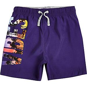 Short de bain violet imprimé «vibes» pour garçon