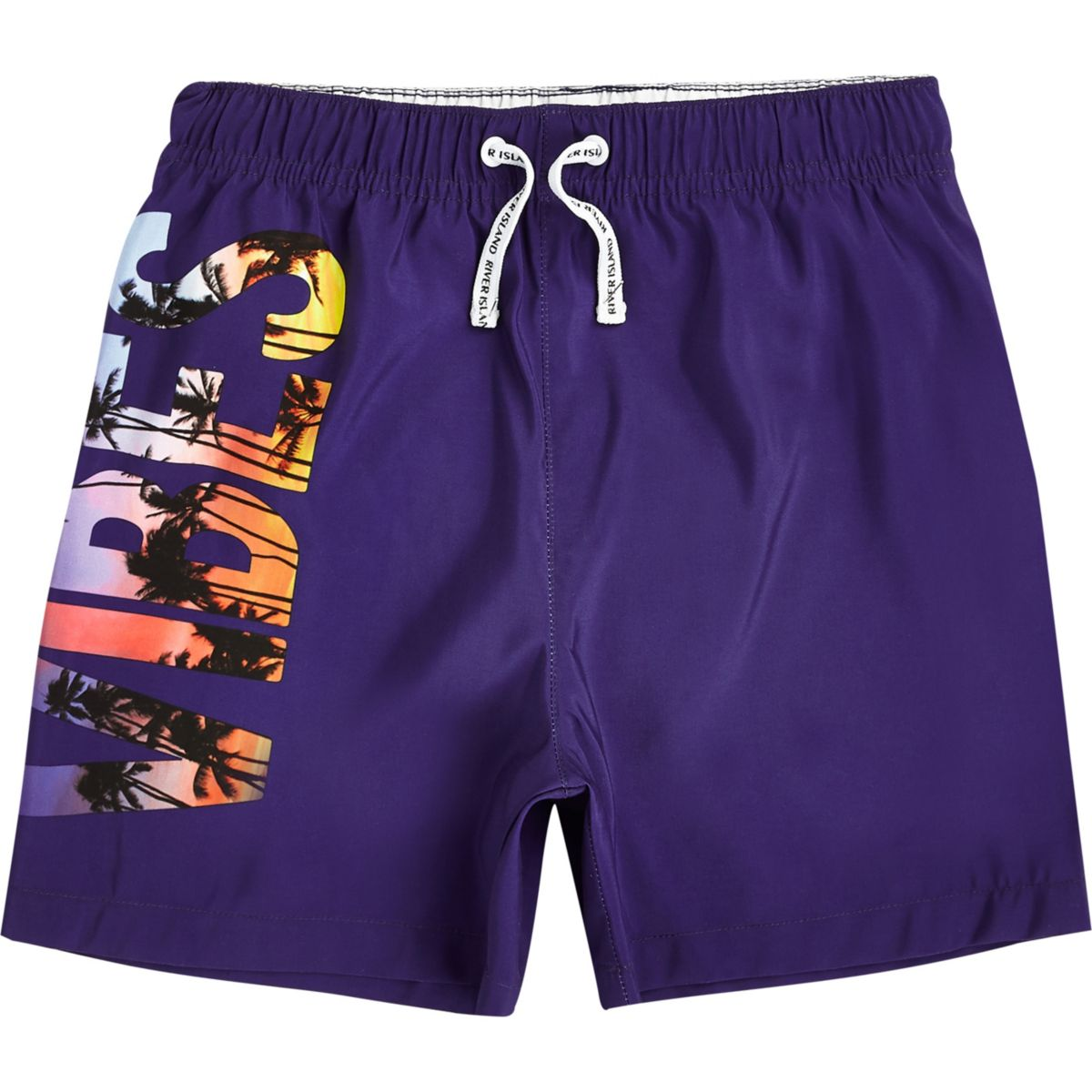 Boys purple 'vibes' print swim trunks