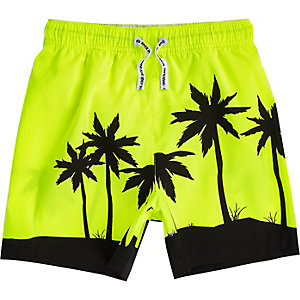Boys bright yellow palm tree swim trunks