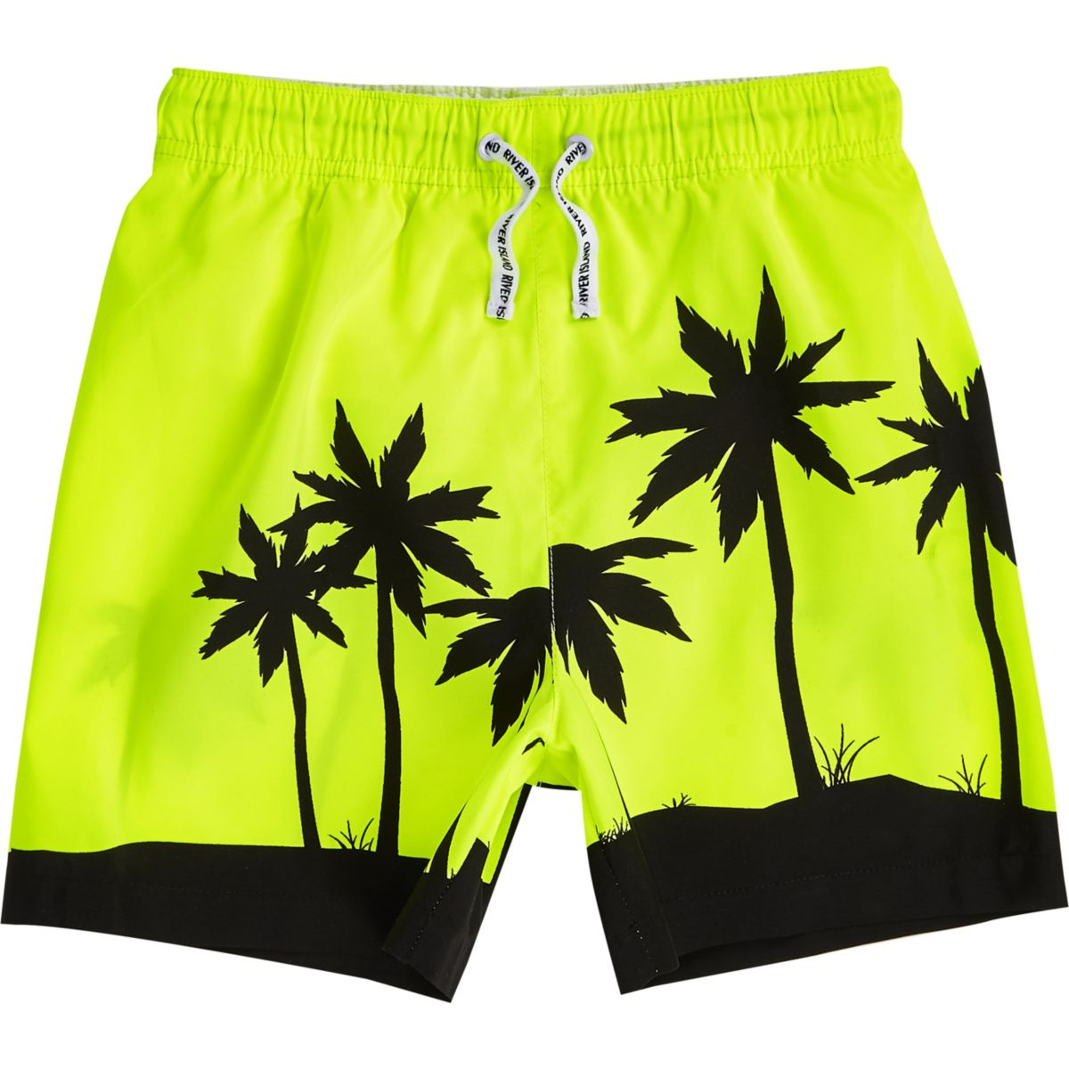 Boys bright yellow palm tree swim shorts