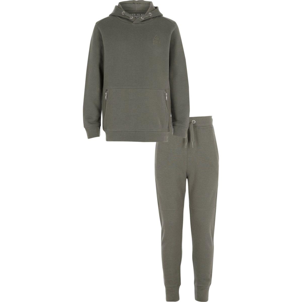 Boys khaki pique hoodie outfit
