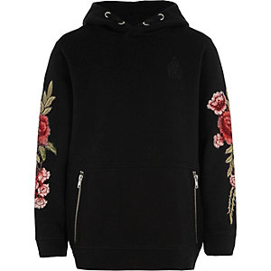 Zwart piqué hoodie voor jongens