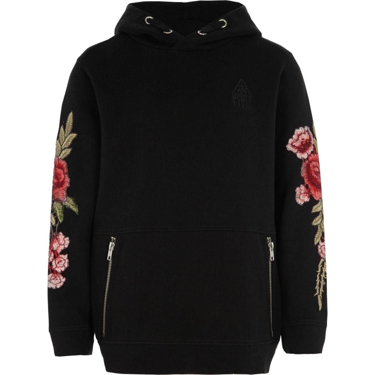 Boys black pique hoodie