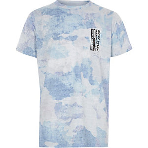 Boys blue camo 'New York' print T-shirt