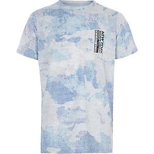 Blauw T-shirt met camouflage- en 'New York'-print voor jongens
