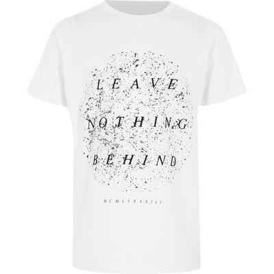 River Island T-shirt «leave nothing» floqué blanc pour garçon - Tissu de coton «Ne rien laisser» floqué impression Encolure ras du cou Manches courtes