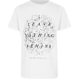 Wit gevlekt T-shirt met 'leave nothing'-print voor jongens