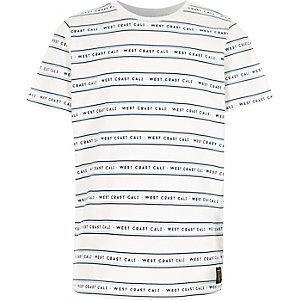 Wit T-shirt met strepen en 'west coast'-print voor jongens