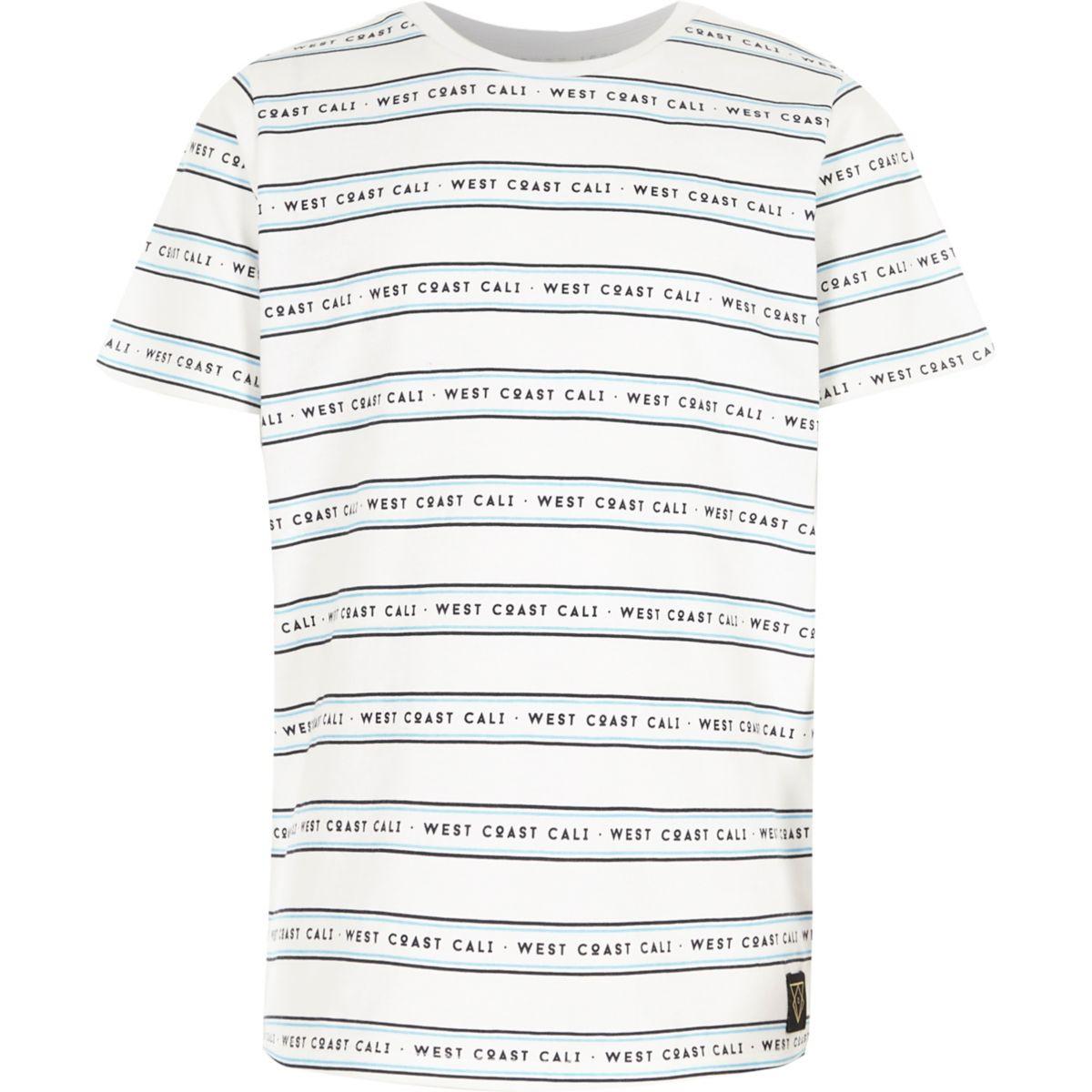 Boys white 'west coast' stripe print T-shirt