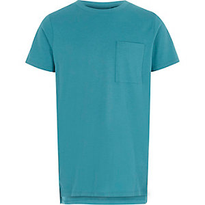 Turquoise T-shirt met zak voor jongens