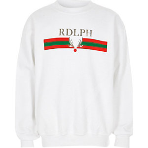 Boys white 'rdlph' foil print Christmas sweat