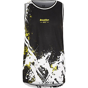 Boys black splatter mesh vest