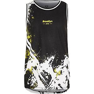 Zwart hemdje met mesh en spetterprint voor jongens