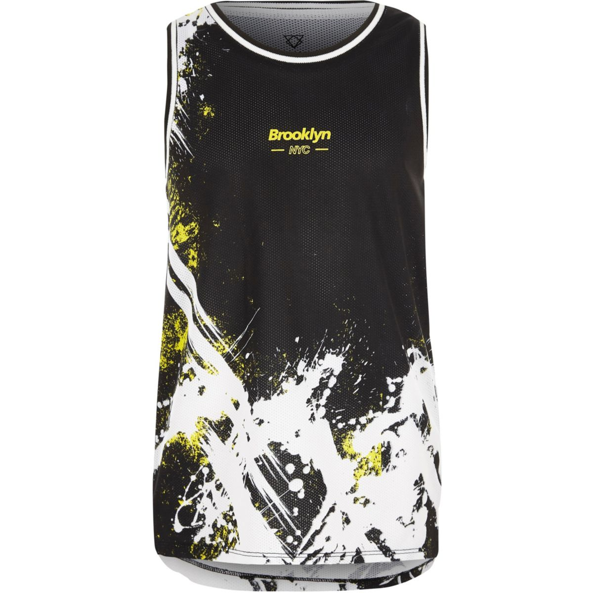 Boys black splatter mesh tank