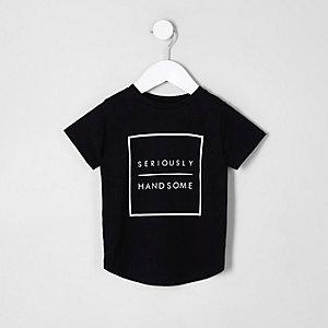 Mini - Zwart T-shirt met 'handsome'-print voor jongens