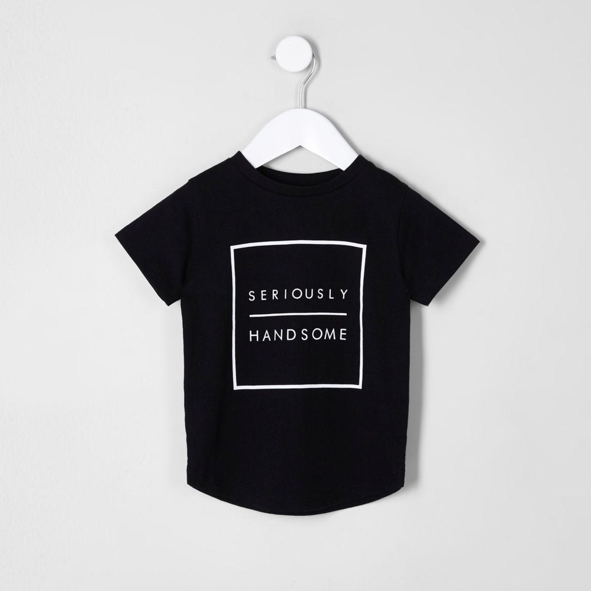 Mini boys black 'handsome' T-shirt