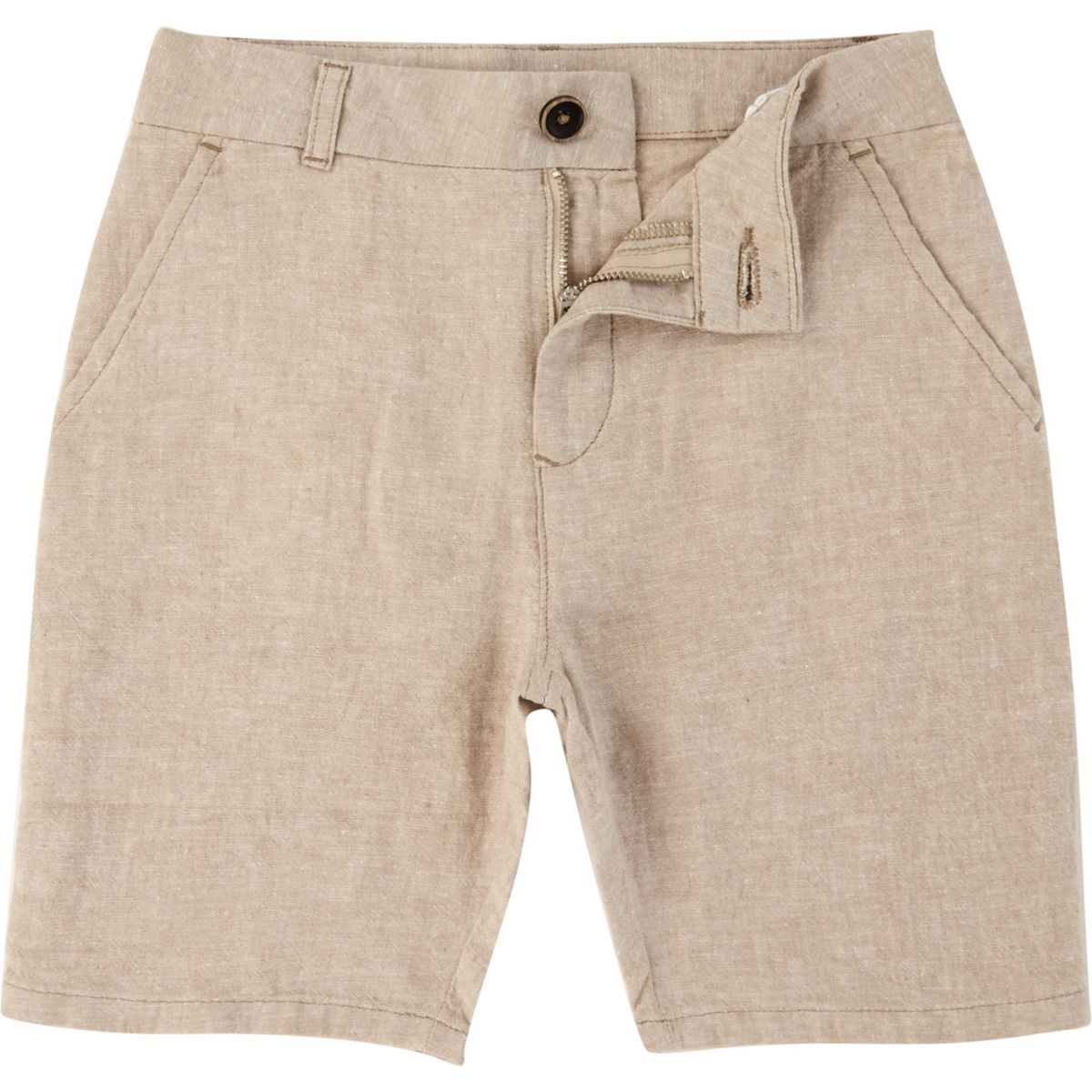 Boys beige Dylan slim fit chino shorts