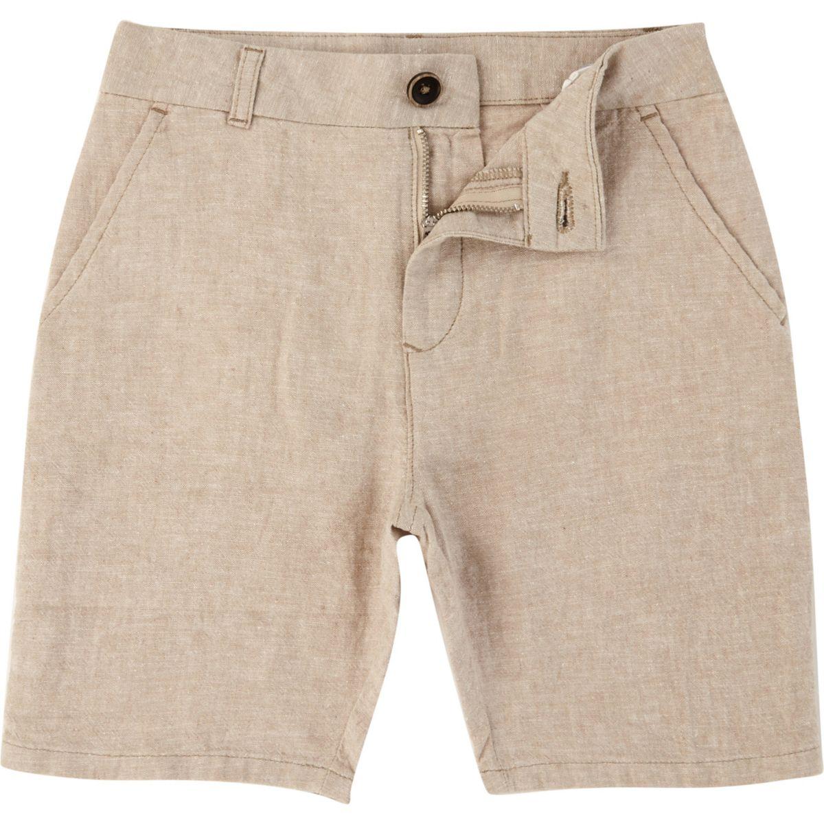 Boys beige Dylan slim fit chino shorts