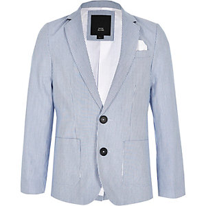 Boys blue stripe double breasted blazer