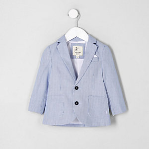 Mini boys blue stripe double breasted blazer