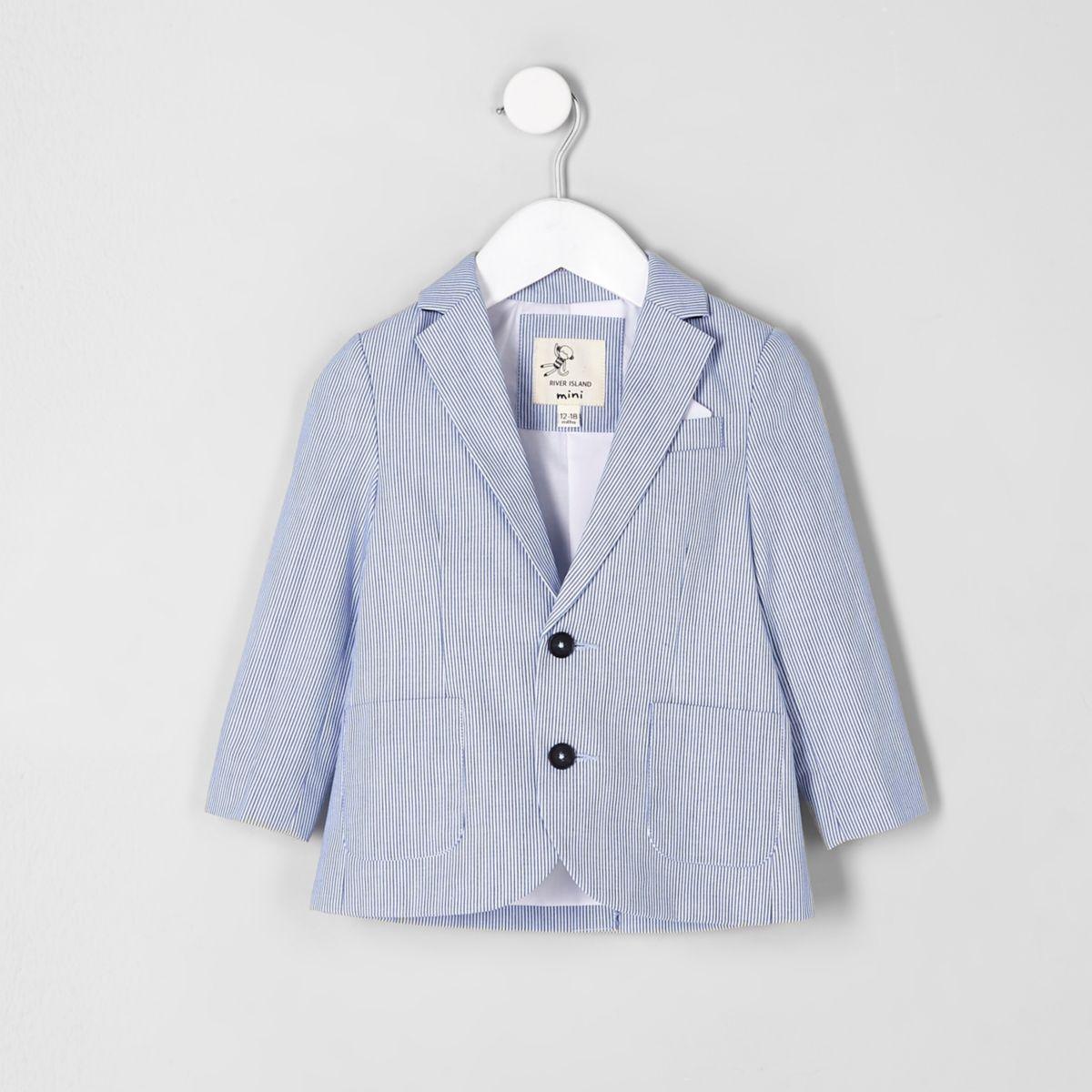 Mini boys blue stripe double breasted blazer