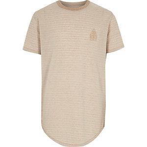 Kiezelkleurig T-shirt met korte mouwen en borduursel voor jongens