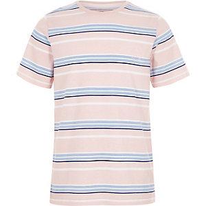 T-shirt rayé rose ras du cou pour garçon