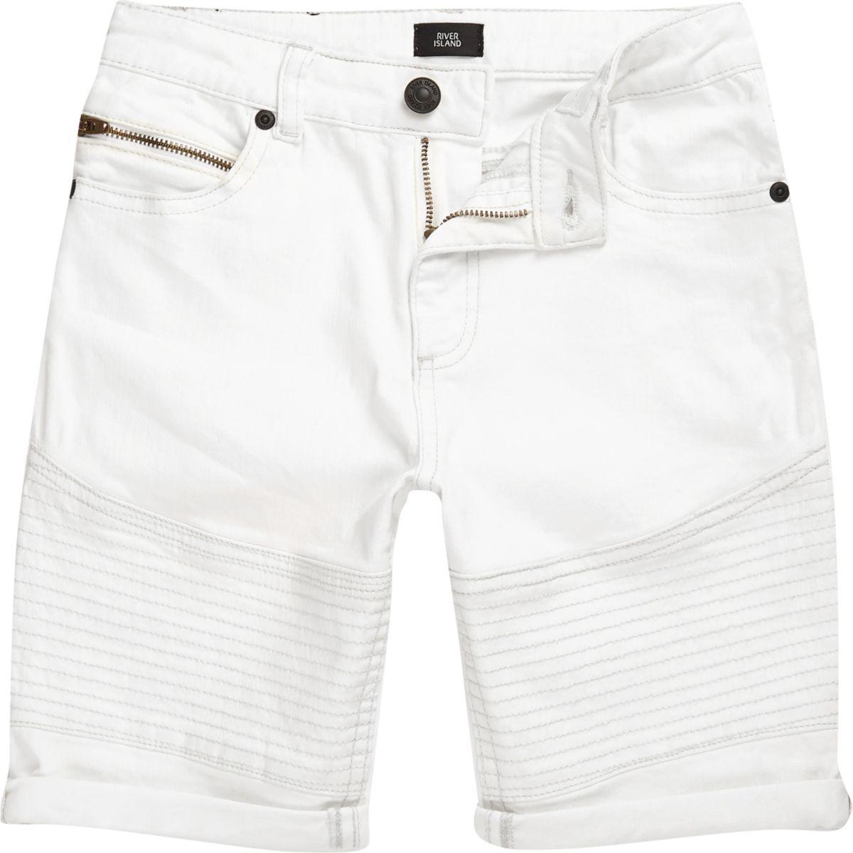 Boys white Dylan biker slim fit denim shorts