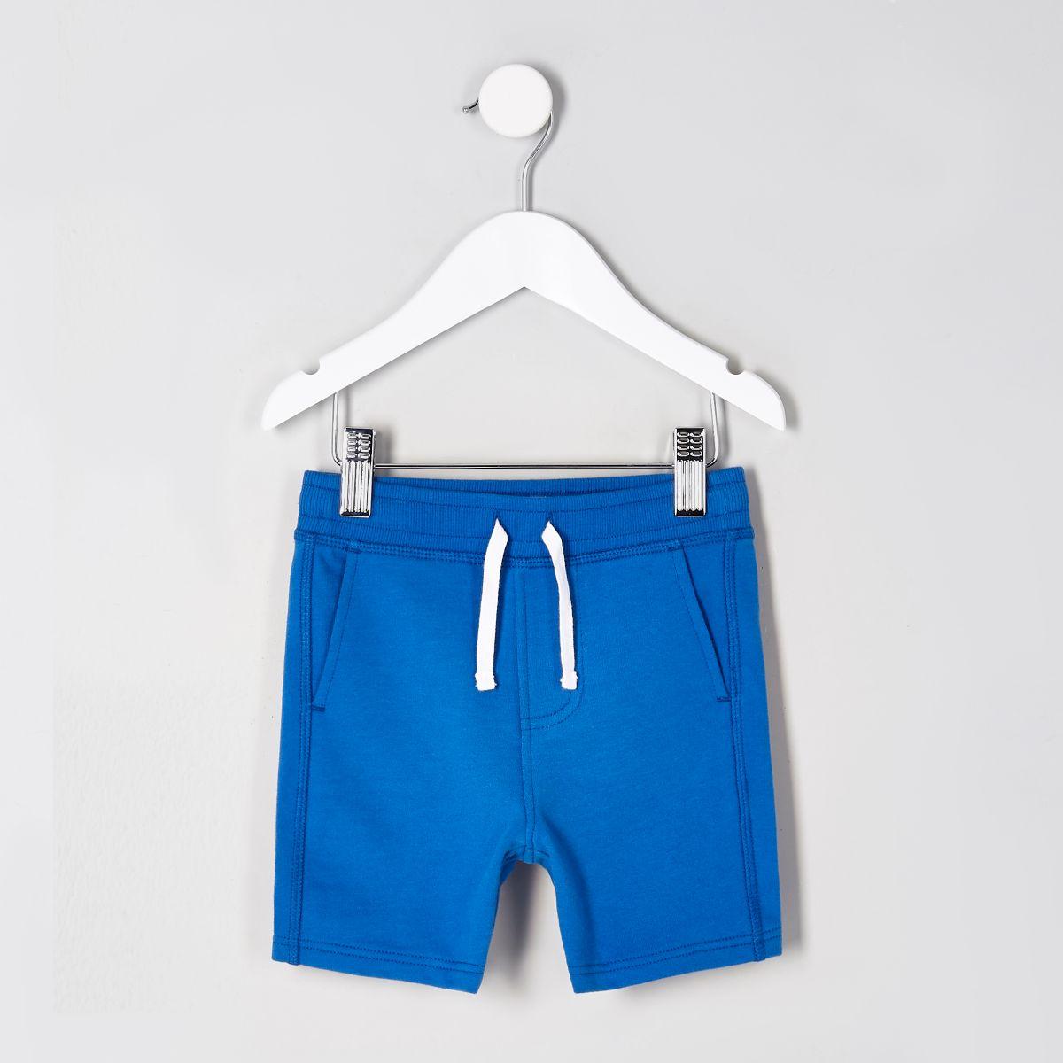 Mini boys blue jersey shorts