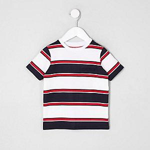 Mini - Wit gestreept T-shirt met 'Brnx'-print voor jongens