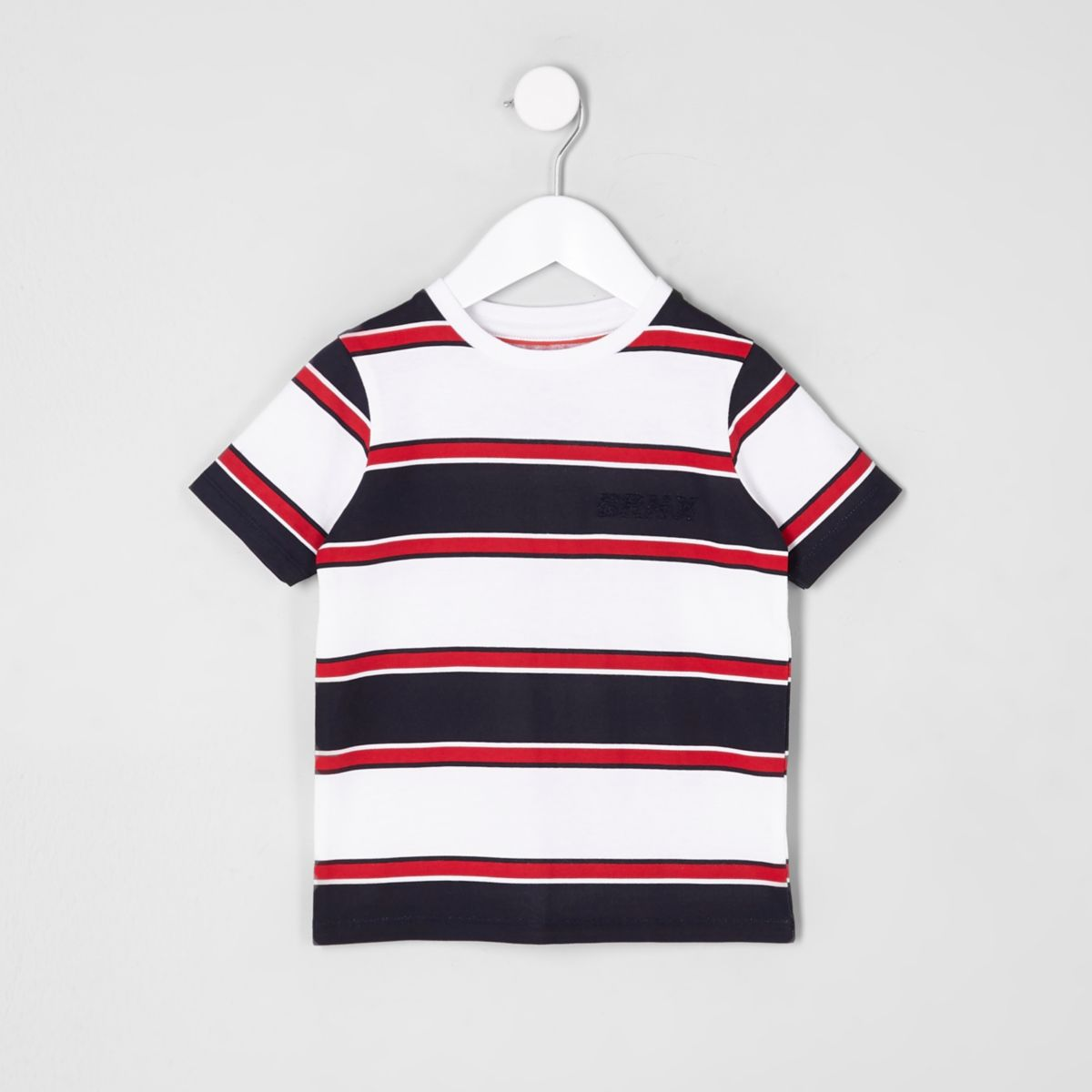 Mini boys white stripe 'Brnx' T-shirt