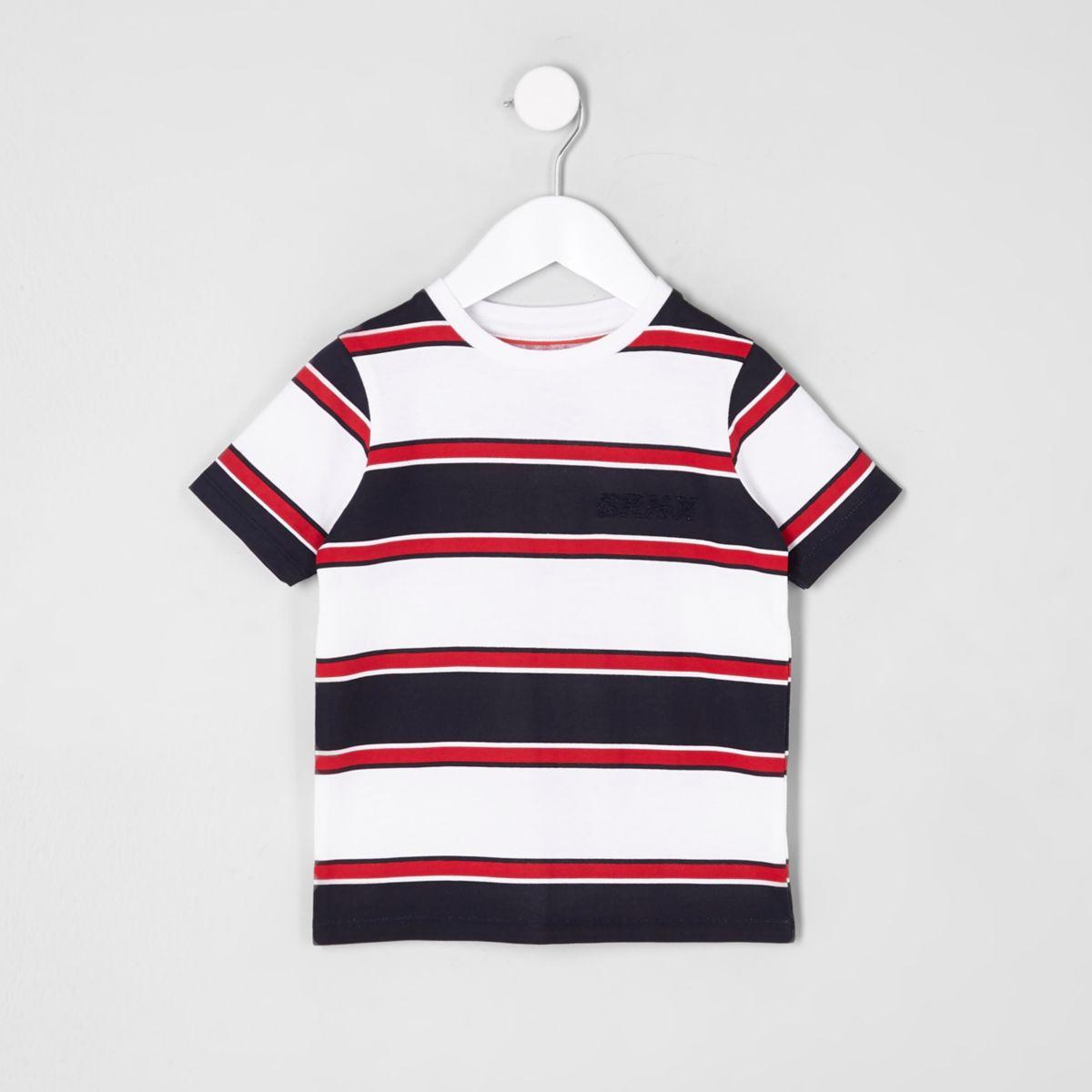 Mini boys white stripe 'Brnx' T-shirt