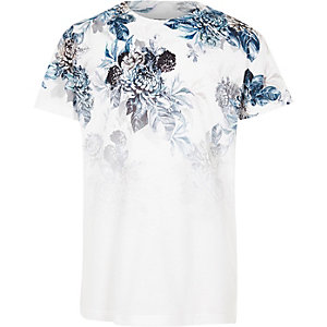 Boys white and blue floral fade print T-shirt