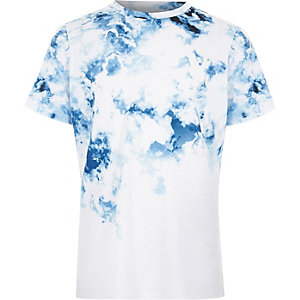 Boys blue smudge print fade T-shirt