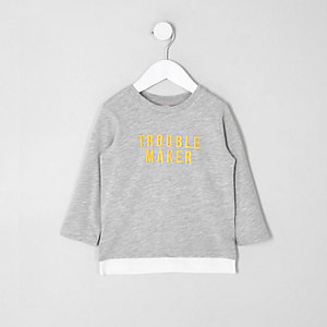 Mini boys grey 'trouble' long sleeve T-shirt