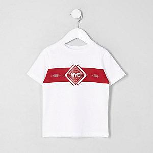 Mini - Wit geblokt T-shirt met 'NYC'-print voor jongens
