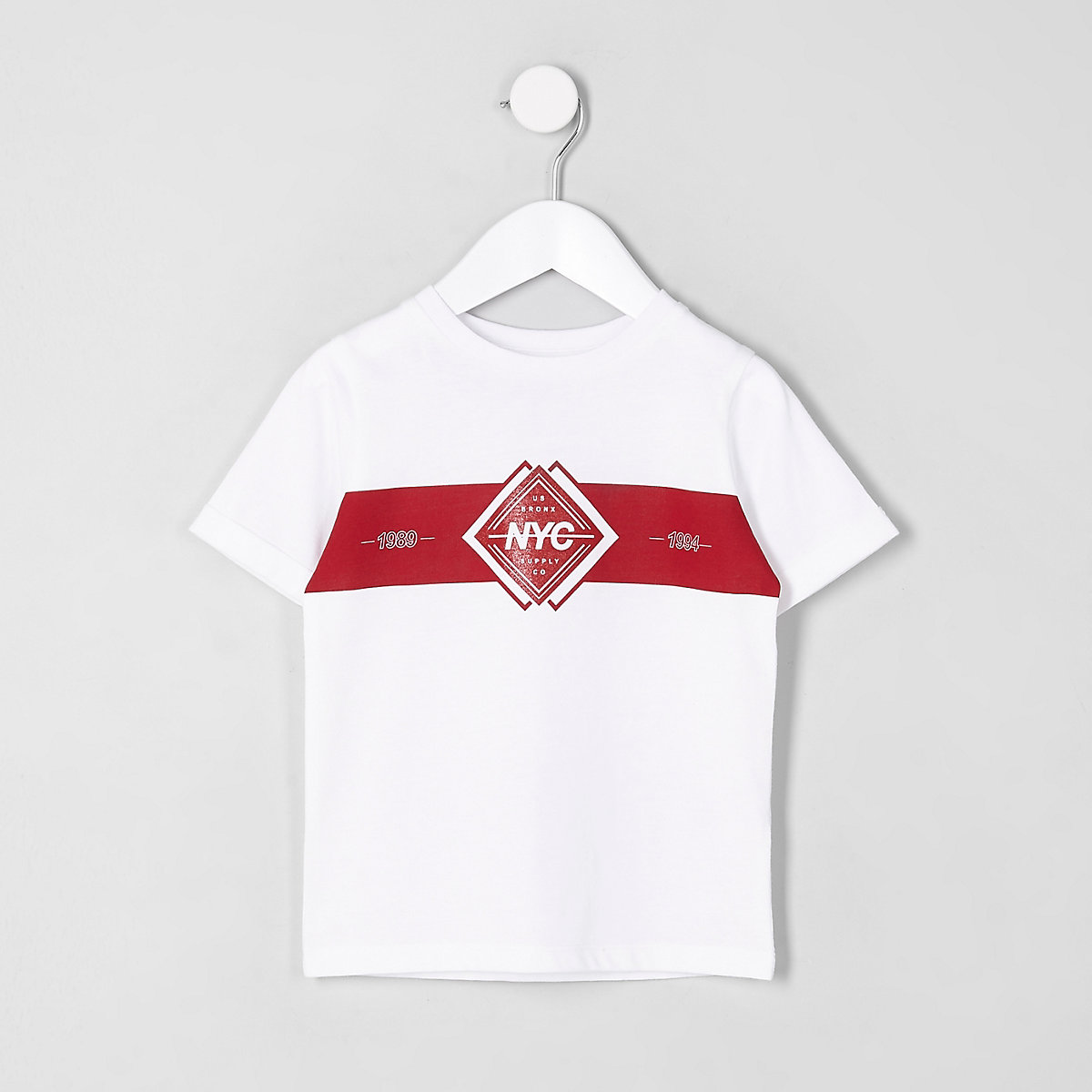 Mini boys white 'NYC block print T-shirt