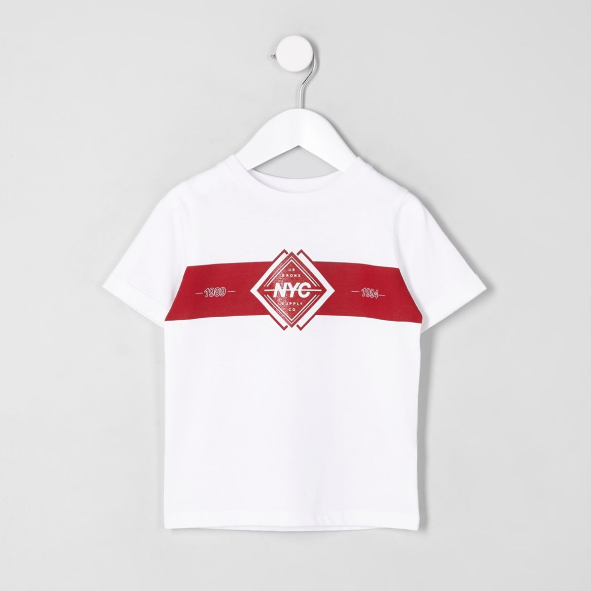 Mini boys white 'NYC block print T-shirt