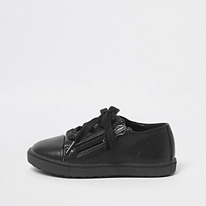 Mini boys black lace-up zip sneakers