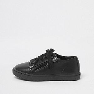 Mini boys black lace-up zip trainers