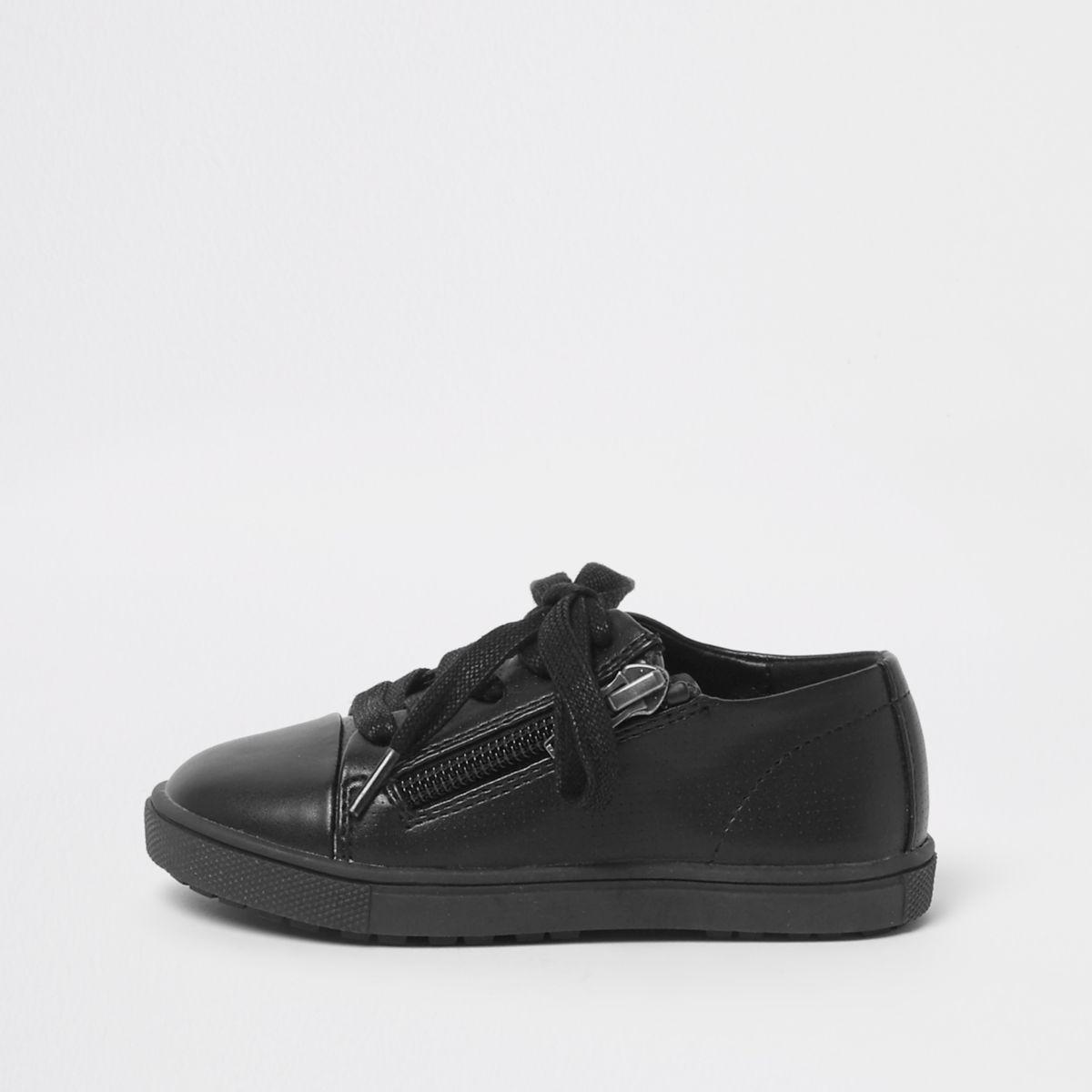 Mini boys black lace-up zip sneakers