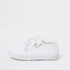 Mini kids white lace-up zip trainers