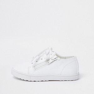 Mini - Witte sneakers met vetersluiting en rits voor kinderen