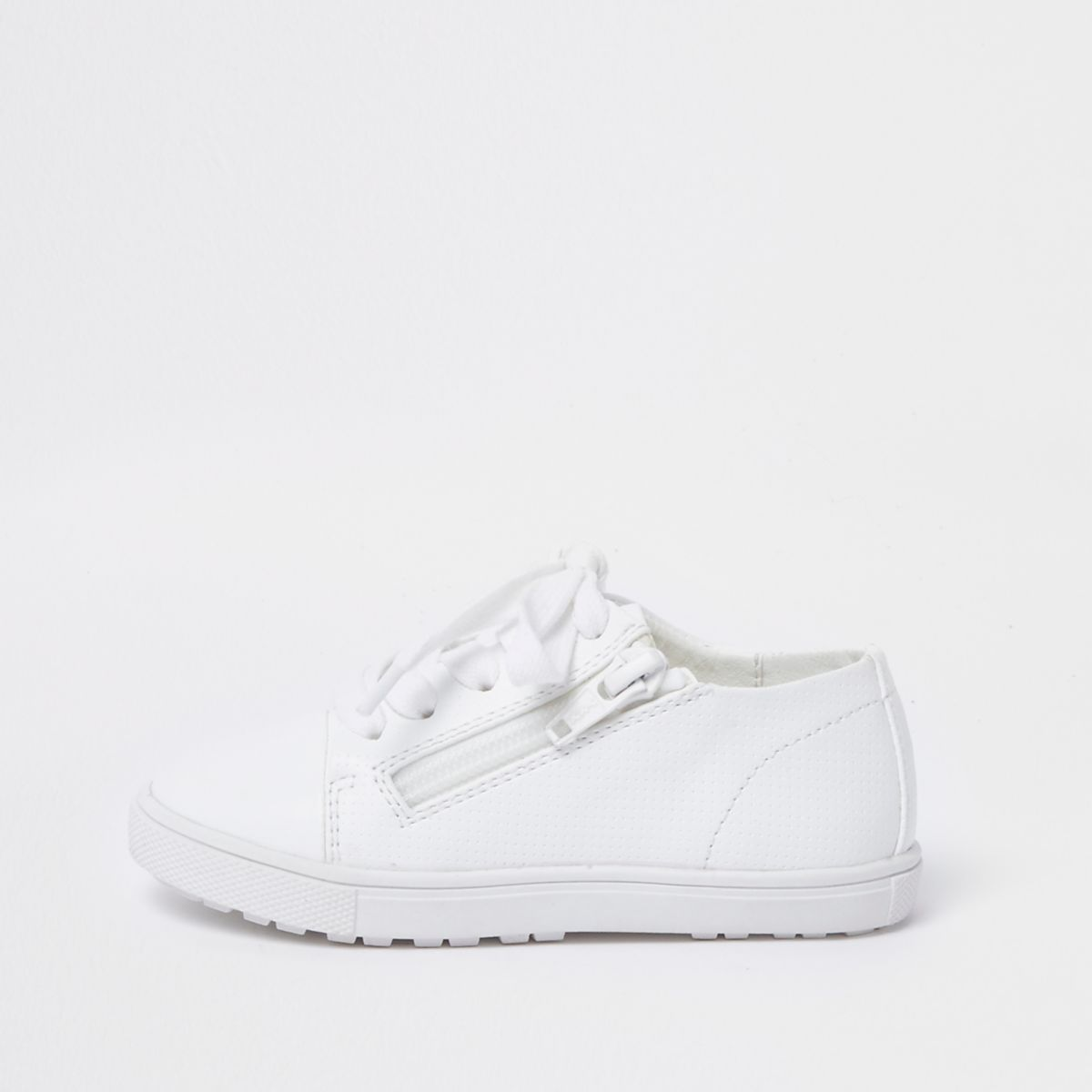 Mini kids white lace-up zip trainers
